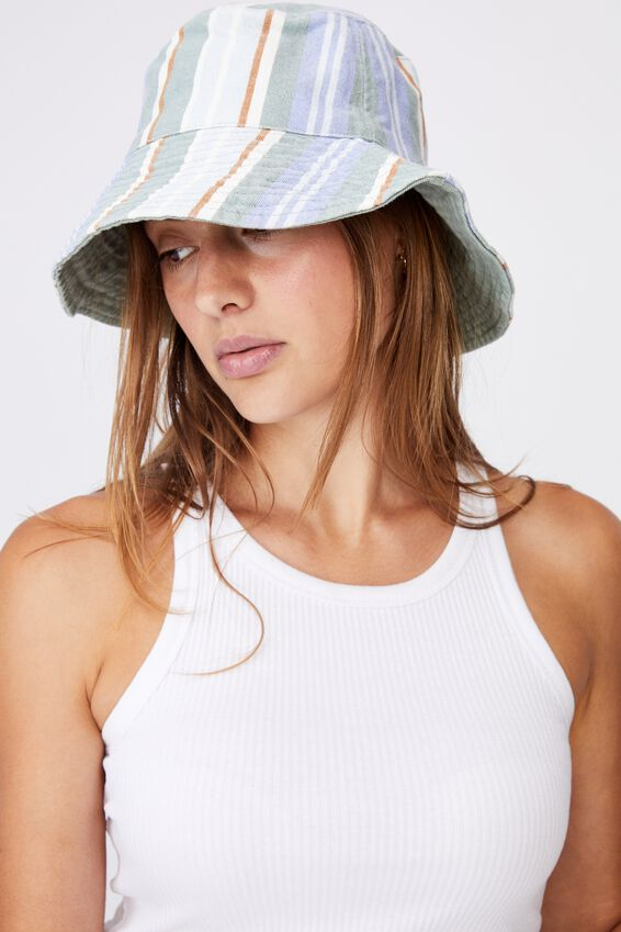Elly Reversible Wide Brim Bucket Hat, GREEN FRANKIE STRIPE