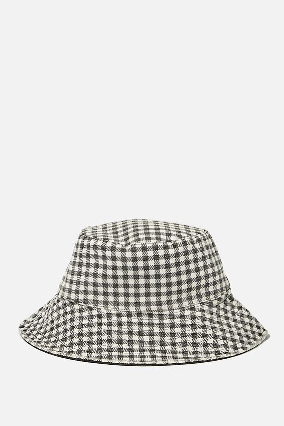 Elly Reversible Wide Brim Bucket Hat, BLACK GINGHAM
