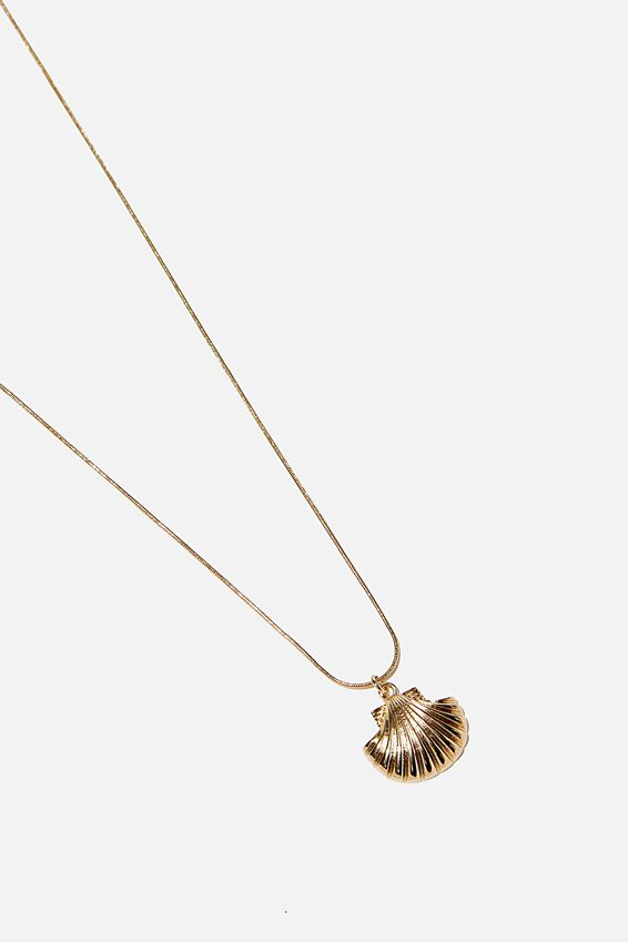 Single Open Shell Necklace, GOLD
