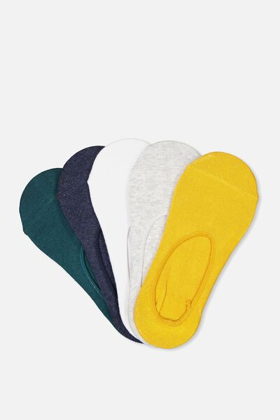 5Pk Low Cut Sock, MUSTARD/NAVY/TEAL