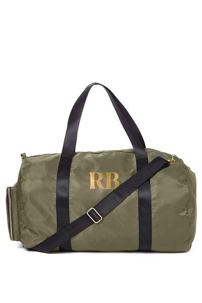 Personalised Istanbul Duffle Bag, KHAKI - GOLD