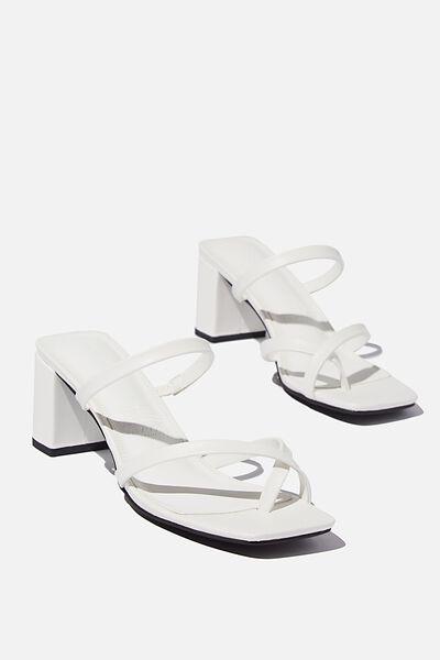 Isla Toe Loop Heel, WHITE PU