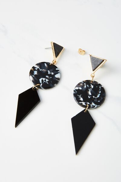 Resin Tri Statement Earring, BLACK