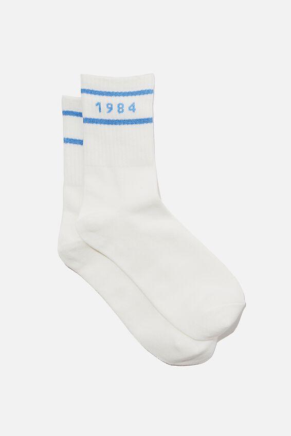 Fine Rib Sports Sock, ECRU ATHLETIC