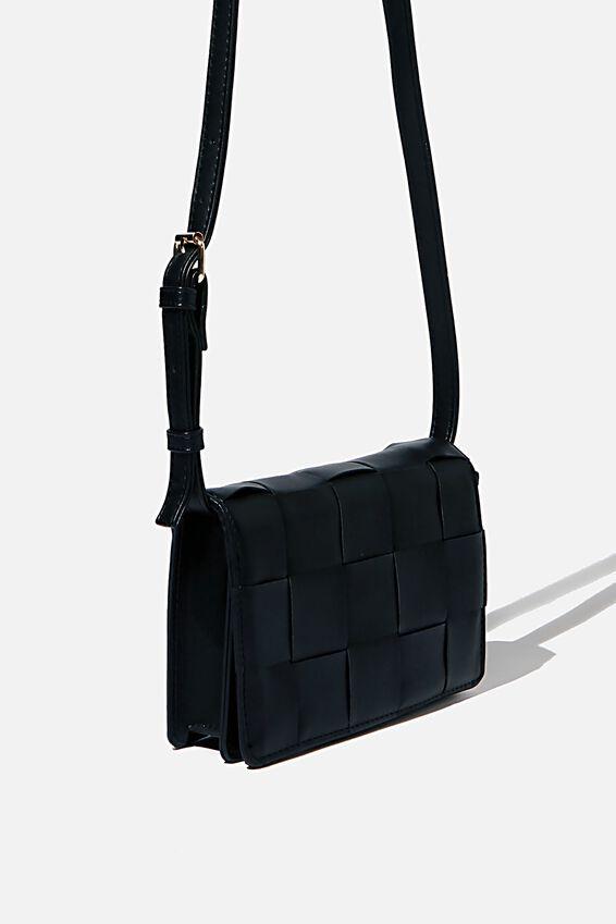 Christy Woven Cross Body Bag, BLACK