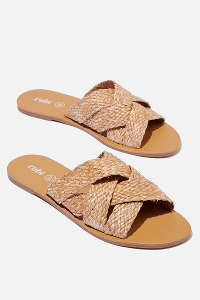 Aggy Woven Slide Sandal, TAN RAFFIA TAPE