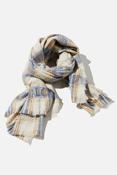 Personalised Brady Blanket Scarf, AIR BLUE MOLLY CHECK