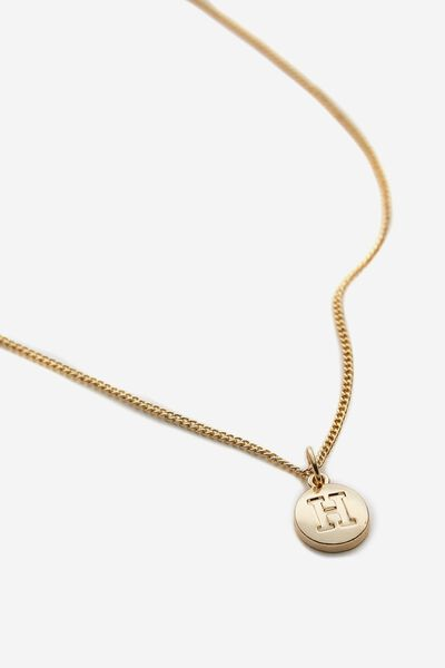 Letter Charm Necklace, GOLD H