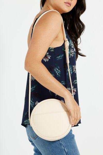 Romy Round Cross Body Bag, NUDE