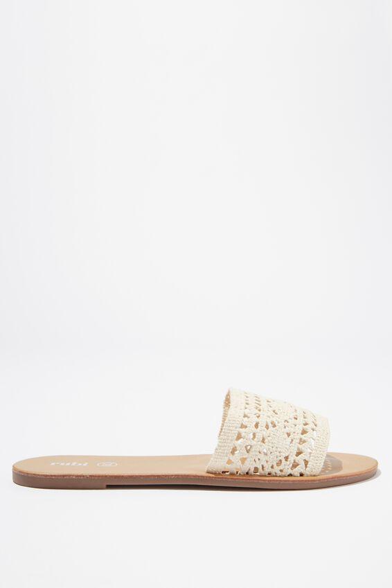 Carrie Minimal Slide, WHITE CROCHET