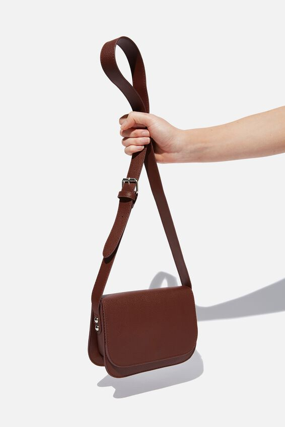 Saddle Cross Body Bag, CHOC PEBBLE