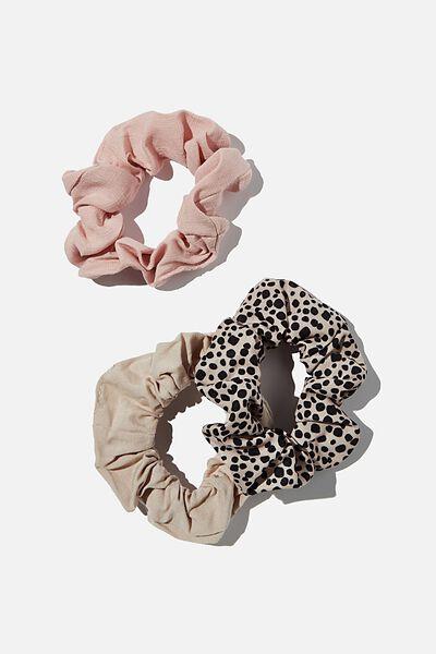 3Pk Scrunchies, NEUTRAL ANIMAL TRIO