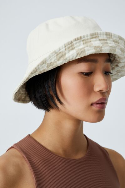 Elly Reversible Wide Brim Bucket Hat, TARA CHECKERBOARD/LINEN TAUPE