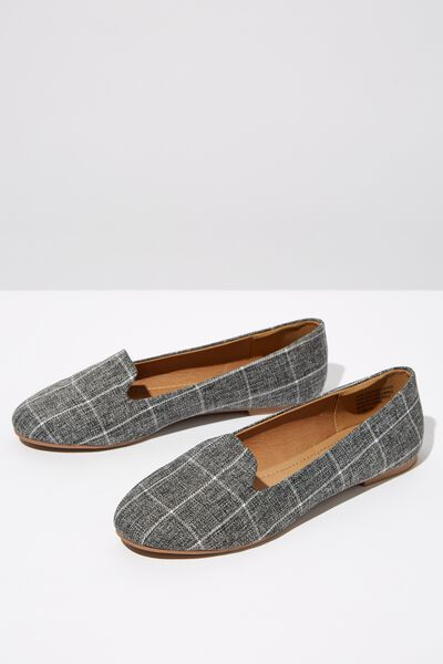 Sophia Slipper, CHARCOAL GREY CHECK