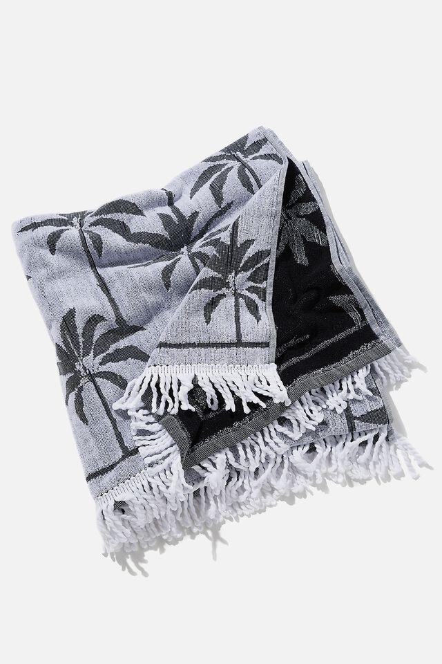 Bondi Rectangle Towel, BLACK AND WHITE PALM JACQUARD