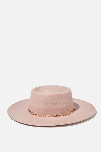 Felicity Felt Boater Hat, PINK/CHAIN