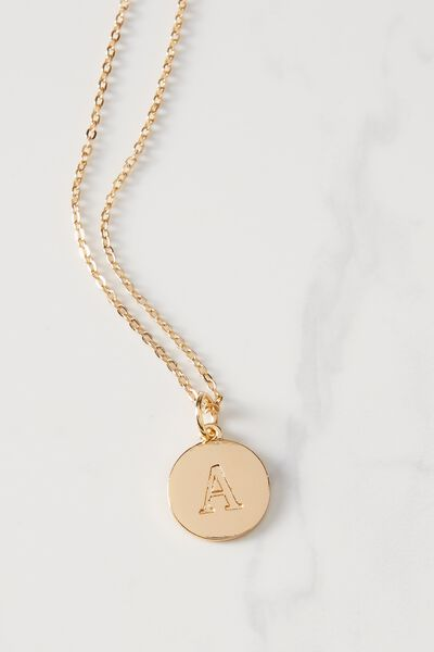 Letter Flat Pendant Necklace, GOLD - A