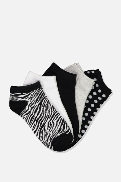 5Pk Ankle Sock, BLACK/WHITE ZEBRA