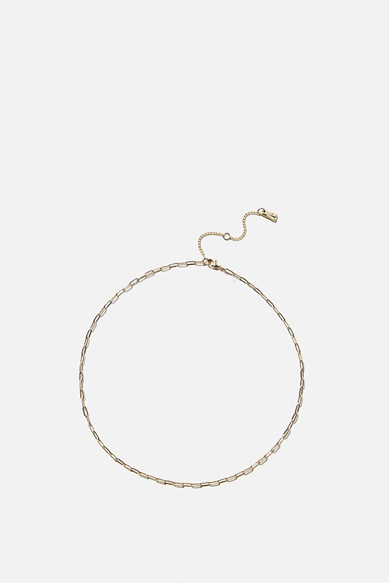 Premium Single Chain Necklace, GOLD PLATED FINE OPEN LINK