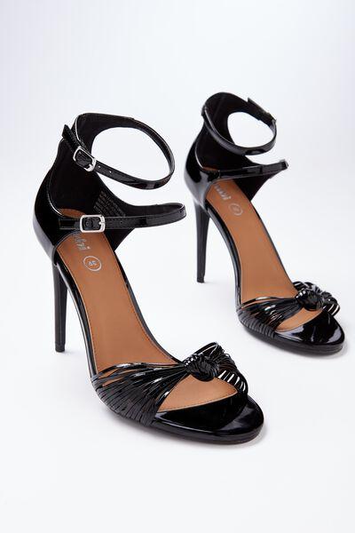 Mimosa Strappy Stiletto Heel, BLACK