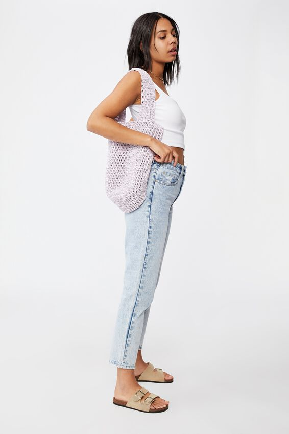 Pia Woven Slouch Tote, LILAC
