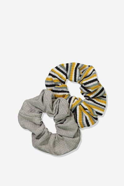 2Pk Scrunchie, MUSTARD/BLACK SPARKLE STRIPE