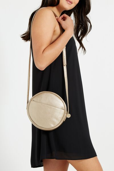 Romy Round Cross Body Bag, METALLIC GOLD