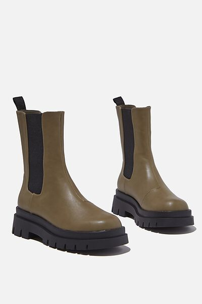Maze Combat Midi Gusset Boot, OLIVE GREEN SMOOTH