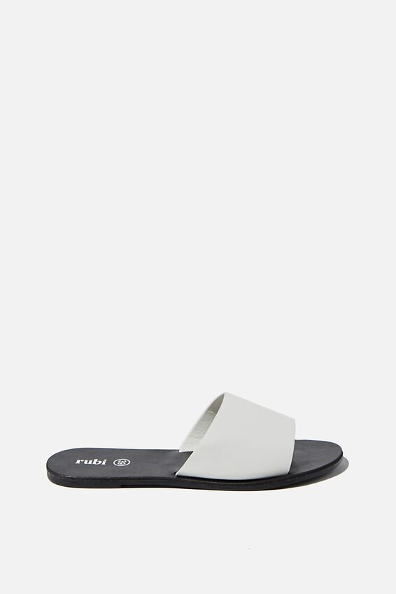 Carrie Minimal Slide, WHITE PU/BLACK