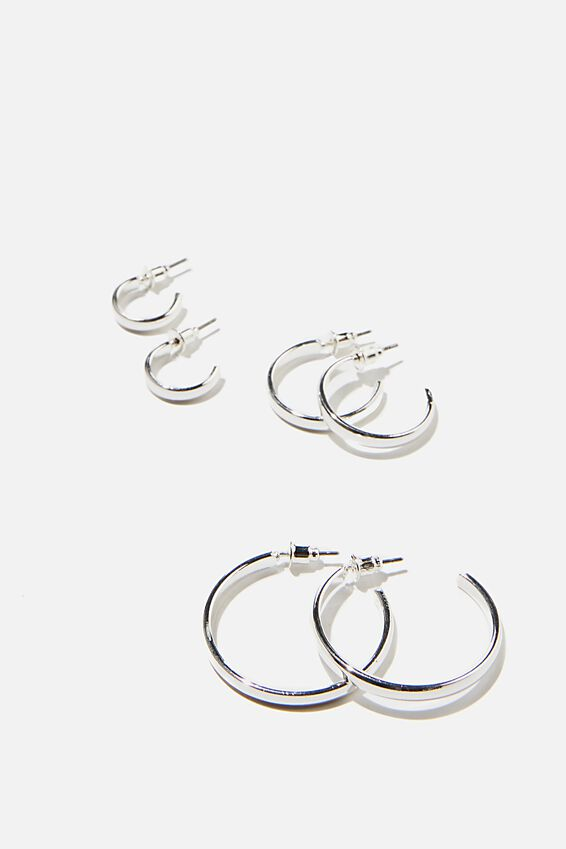 3Pk Luxe Layers Hoops, BASIC SILVER