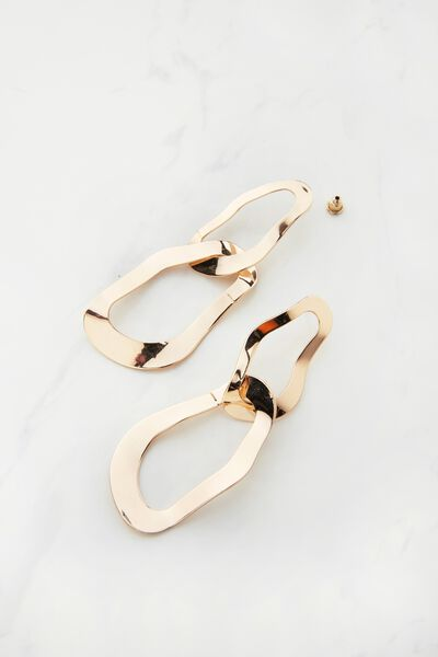 Multilink Metal Earrings, GOLD