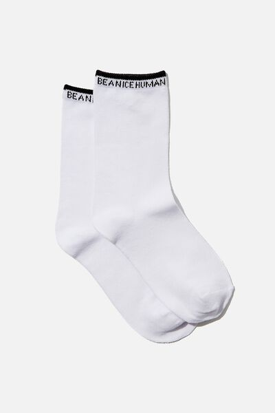 Carrie Crew Sock, WHITE/BE A NICE HUMAN