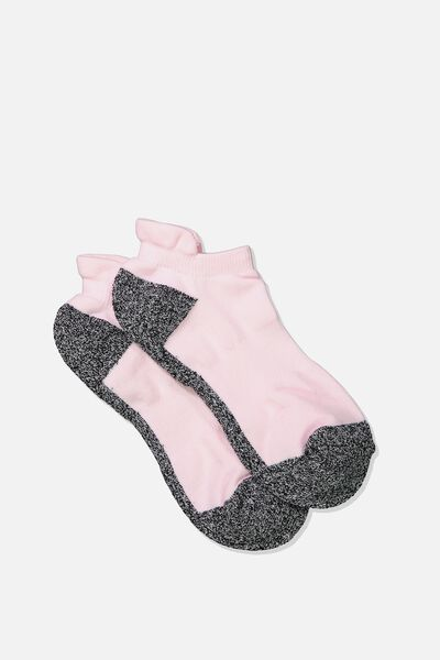 High Impact Ankle Sock, SOFT PINK/BLACK MIX