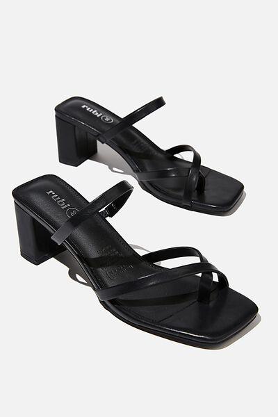 Isla Toe Loop Heel, BLACK PU
