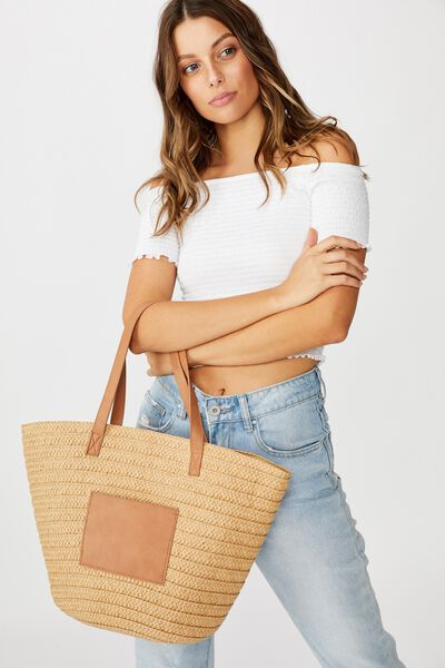 Basket Tote, NATURAL