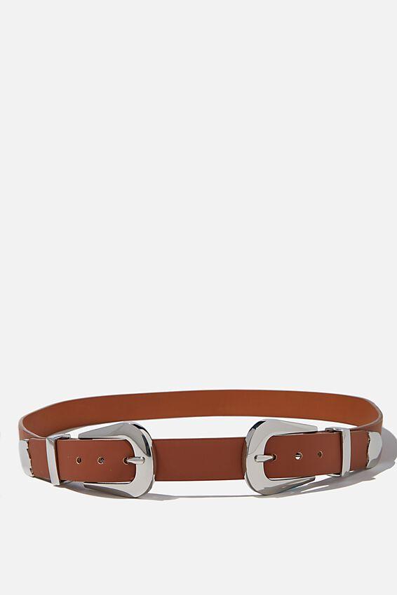 Double Western Buckle Belt, TAN/ SILVER