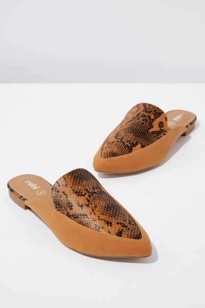 Petra Point Mule, TAN NATURAL PRINT MULTI