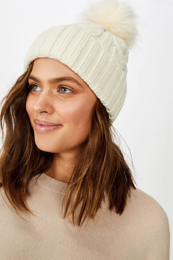 Elyse Pom Pom Beanie, WINTER WHITE