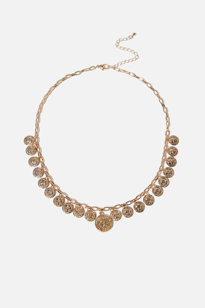 Capella Modern Metals Coins Necklace, GOLD