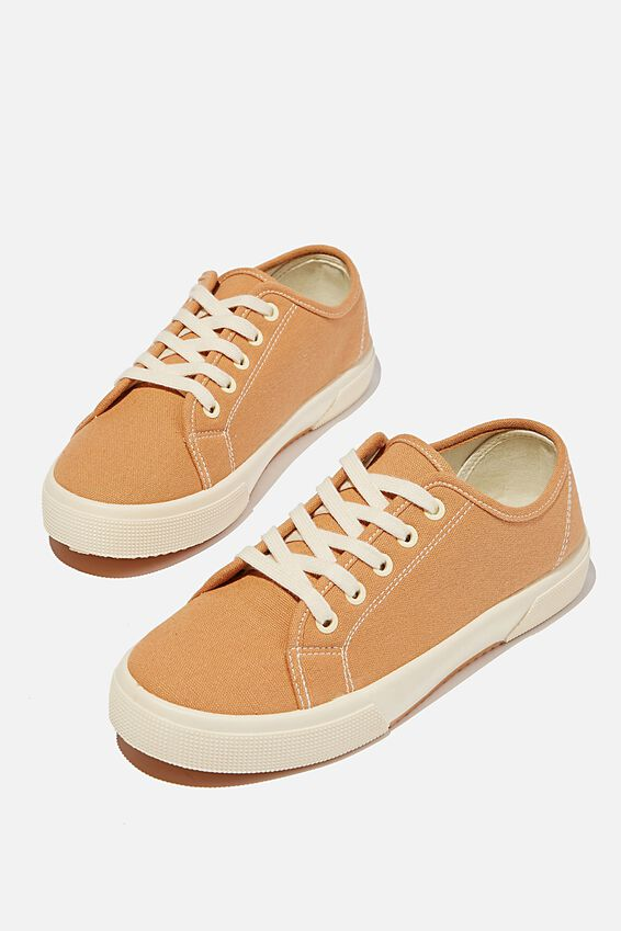 Lisa Lace Up Plimsoll, TAN