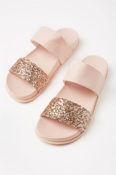 Baillie Double Strap Slide, ROSE GOLD GLITTER