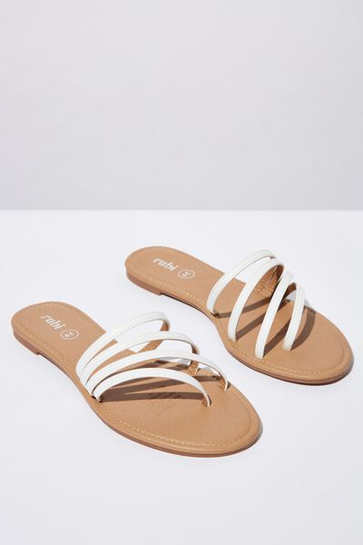 Everyday Strappy Slide, WHITE PU