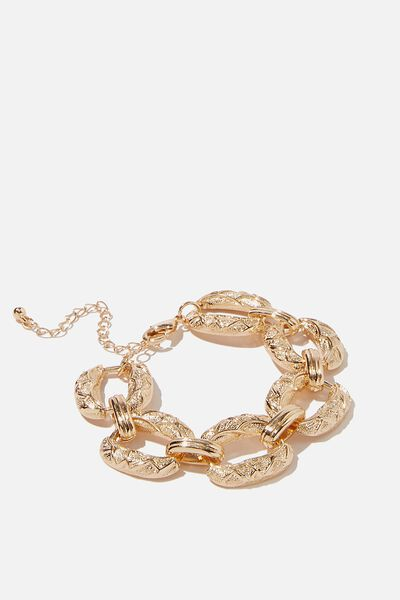 Luxe Layers Textured Links Bracelet, GOLD