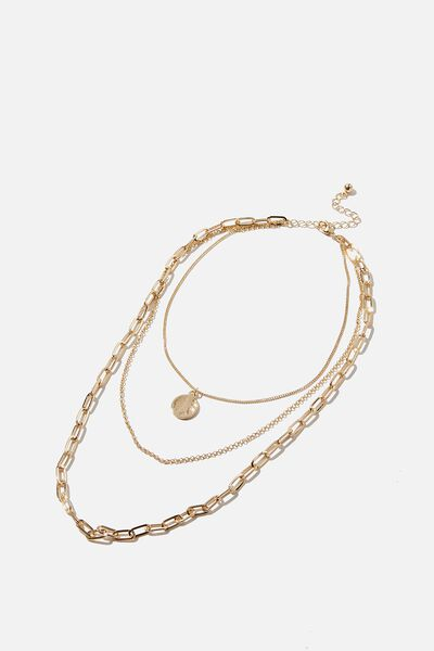 Triple Layer Links Treasures Necklace, GOLD