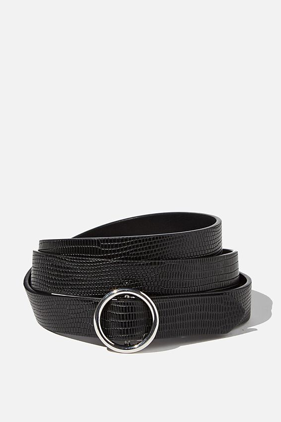 Round About Buckle Belt, BLACK MULTI BUCKLE