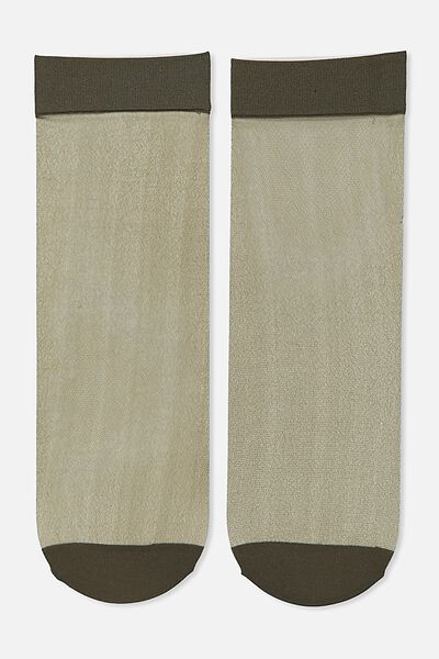 Poppy Sheer Sock, KHAKI