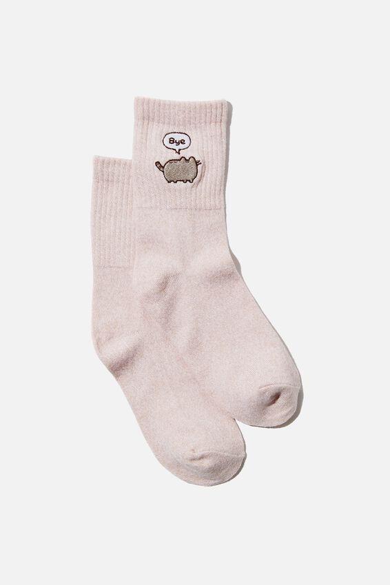 Fine Rib Sports Sock, LCN  PUSHEEN BLUSH MARLE