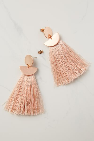 Princess Tassel Statement Earring, PINK/ROSE GOLD