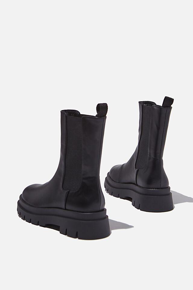Maze Combat Midi Gusset Boot, BLACK SMOOTH