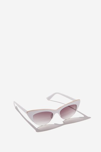 Gracie Cateye Sunglass, S.WHITE/GOLD
